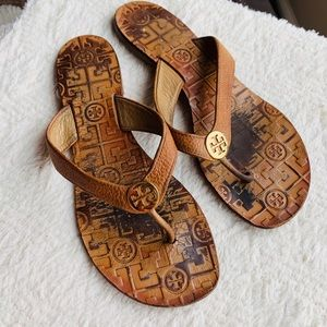 Tory Burch THORA flip flop sandals brown leather